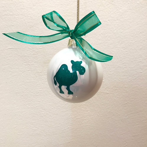 Christmas Bauble - White with Green Camel