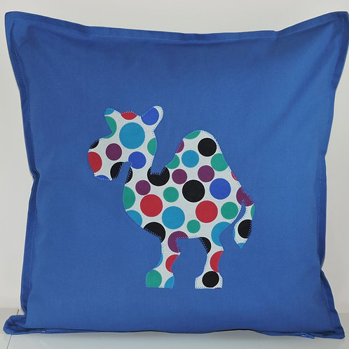 Blue Appliqué Camel Cushion