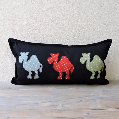 Black Appliqué Camel Train Cushion