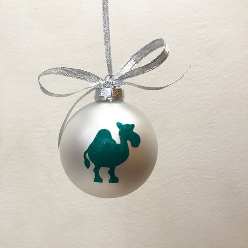 Christmas Bauble - Silver Matt with Green Camel
