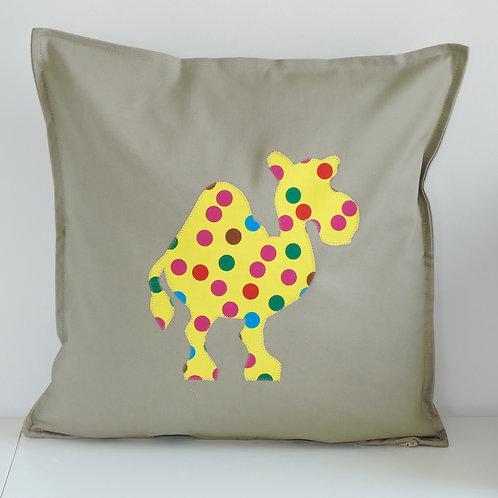 Neutral Appliqué Camel Cushion
