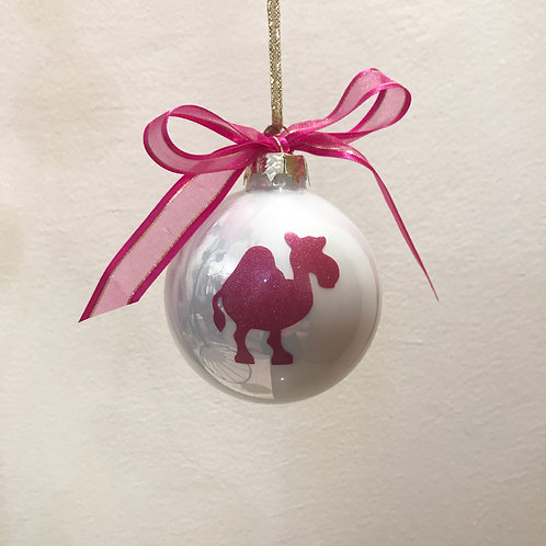 Christmas Bauble - White with Pink Camel