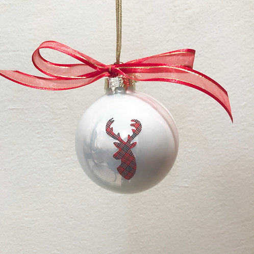 Christmas Bauble - White with Tartan Stag