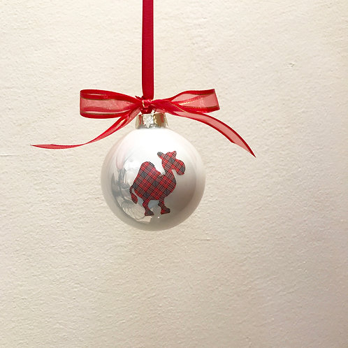 Christmas Bauble - White with Tartan Camel