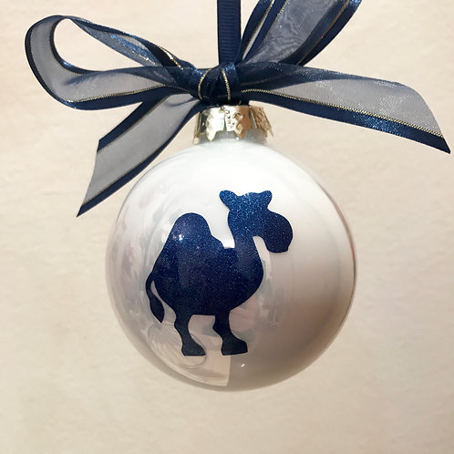Christmas Bauble - White with Blue Camel