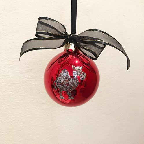 Christmas Bauble - Red with Santa Print Camel
