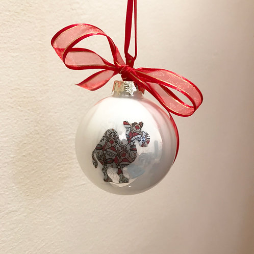 Christmas Bauble - White with Santa Print Camel