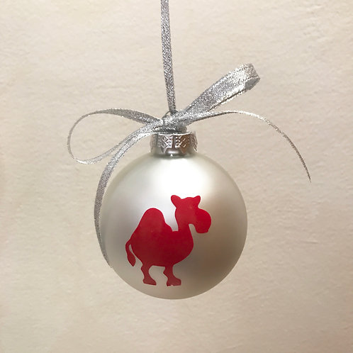 Christmas Bauble - Silver Matt with Red Camel