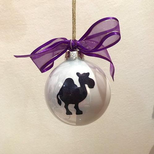 Christmas Bauble - White with Purple Camel