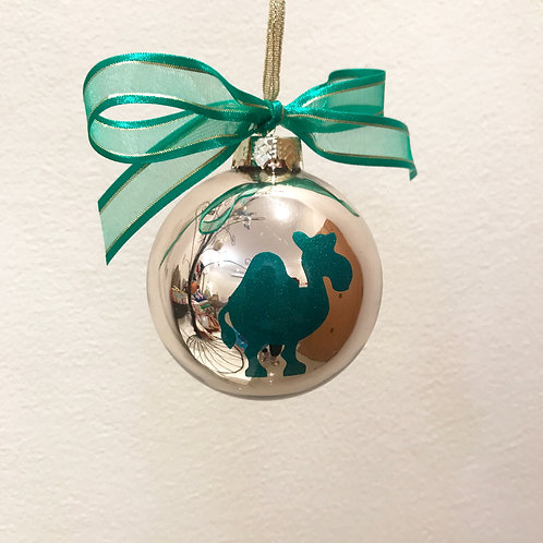 Christmas Bauble - Gold with Green Camel