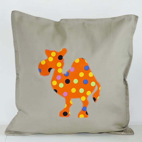 Neutral Appliqué Camel Cushion