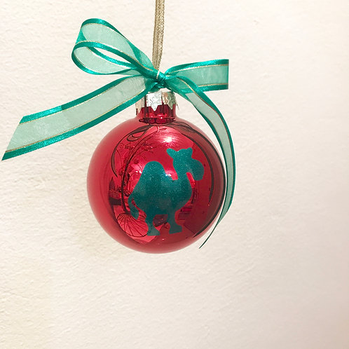 Christmas Bauble - Red with Green Camel