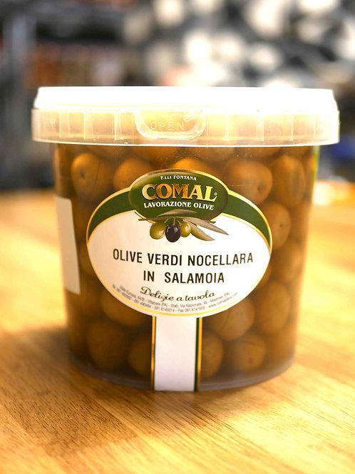 """Olives vertes """"nocellara"""" en saumure, 1kg, Comal des Fratelli Fontana"""