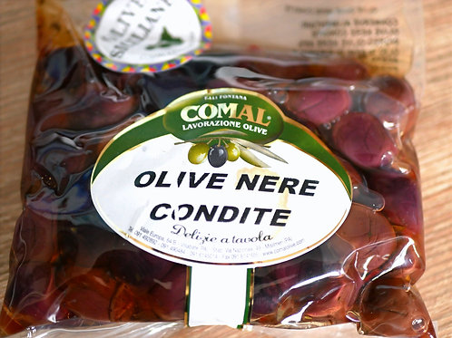 Olives Noires préparées 400gr, Comal des Fratelli Fontana