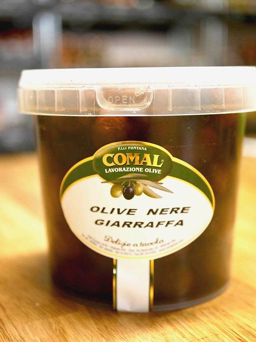 """Olives noires """"giaraffa"""" en saumure, 1kg, Comal des Fratelli Fontana"""