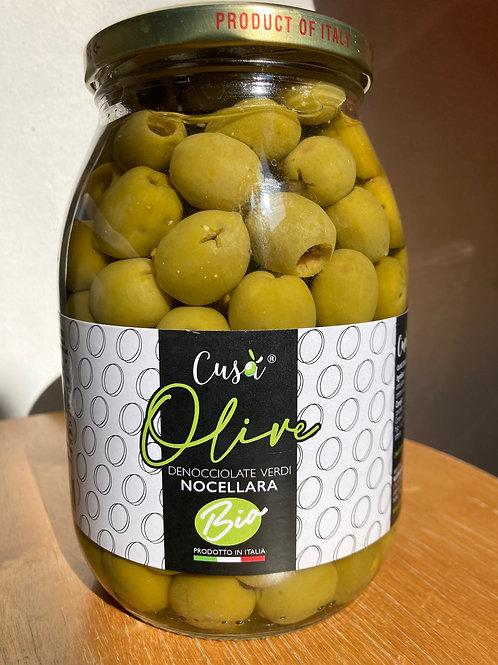 Olives vertes dénoyautées bio Cusà 550gr - bocal