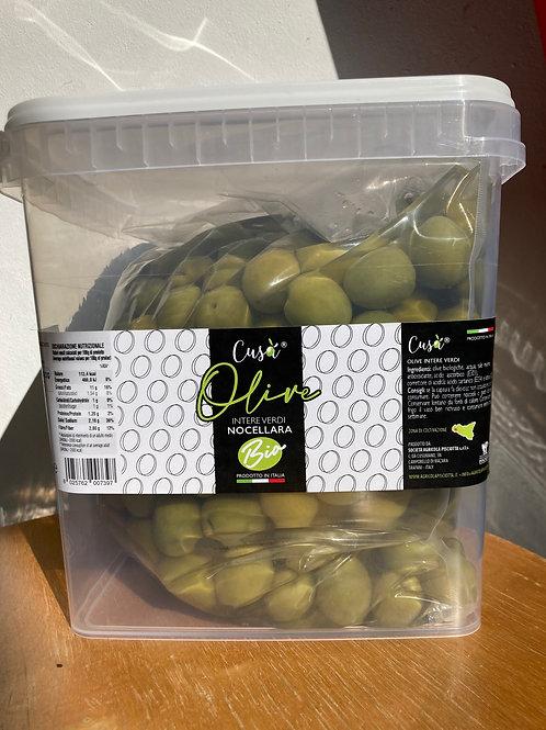 Olives vertes entières bio Cusà 2,500kg - seau