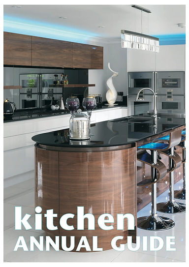 Modern handleless kitchen cabinets in high gloss walnut veneer and white Parapan.