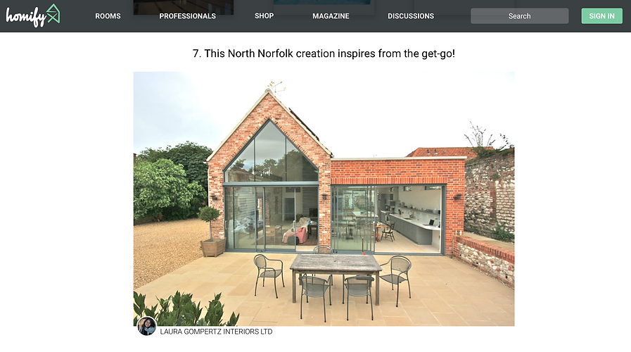 Homify UK feature on North Norfolk bespoke luxury kitchen by Laura Gompertz Interiors
