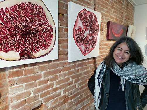 Laura Gompertz at her solo fine art show of oil paintings in Amsterdam, Netherlands.