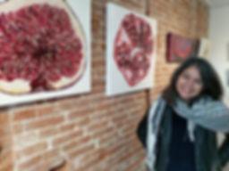 Laura Gompertz at art exhibition in Amsterdam, Netherlands