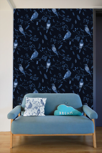 Birds on Branches Pattern Blue and Black