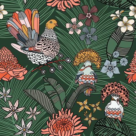 Jungle Dove Pattern  Green