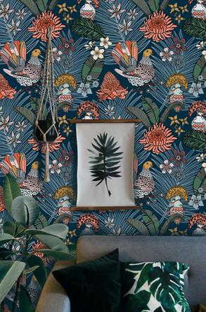 Jungle Dove Pattern Blue