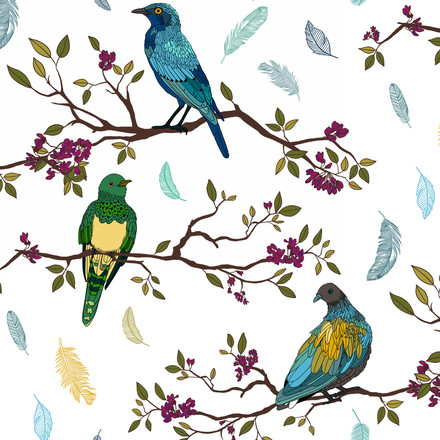 Birds on Branches Pattern Colourful on White