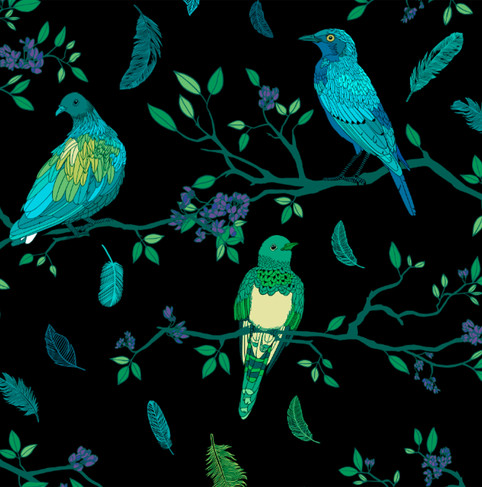 Birds on Branches Fluorecent on Black