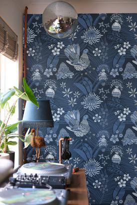 Jungle Dove pattern Blue Monochrome