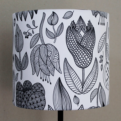 Black and white printed fabric lampshade