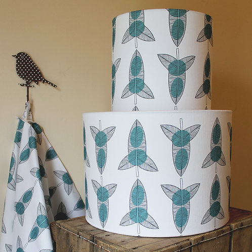 Teal bindweed pattern lampshade