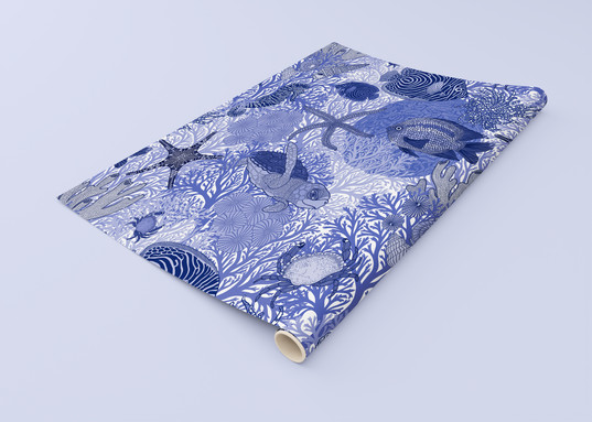 Underwater Love  Cobalt Wrapping Paper