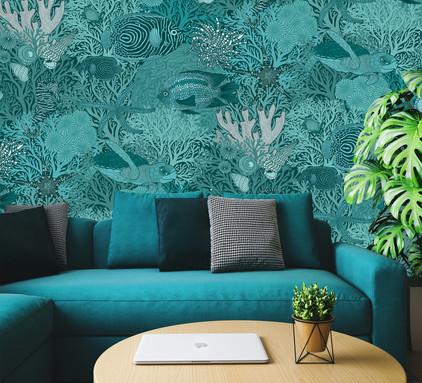 Underwater Love  Teal Wallpaper