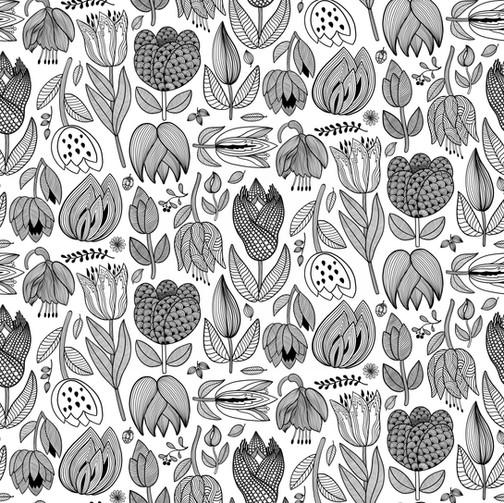 Scandi Black & White Floral Pattern