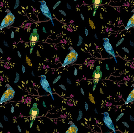 Birds on Branches Pattern  Colourful on Black