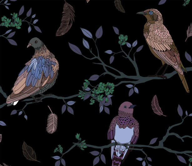 Birds on Branches pattern Rose gold on Black