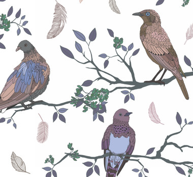 Birds on Branches pattern Rose gold and Blue
