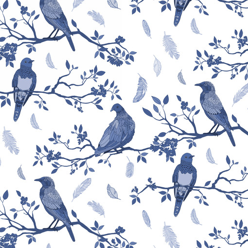 Birds on Branches Pattern Blue and White