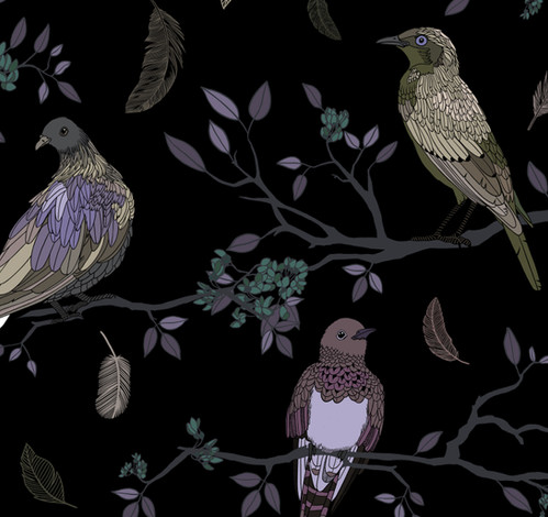 Birds on Branches pattern Purple and Gold on Black