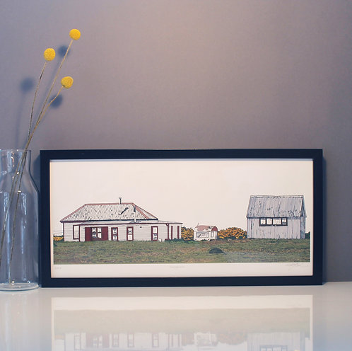 Dungeness house and caravan print