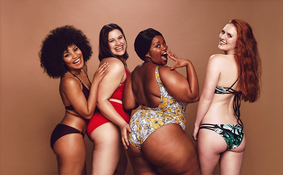 Body positive and diversity promoting picture of mixed color women wearing standard and plus size swimwear and lingerie for Chanteca Partners.