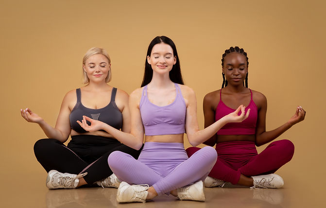 Diversity and body positive image showing women in all skin colors and sizes wearing activewear and yoga wear for Chanteca Partners.