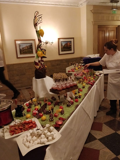 Prepring the dessert buffet