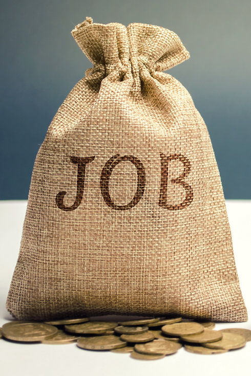Money bag with the word Job and a magnif