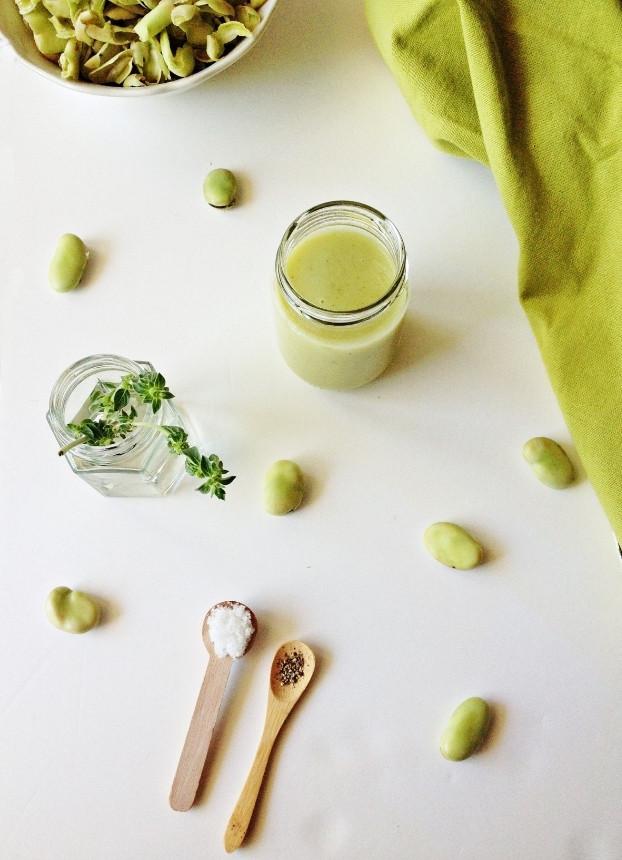 Creme de favas e maçã verde com poejo