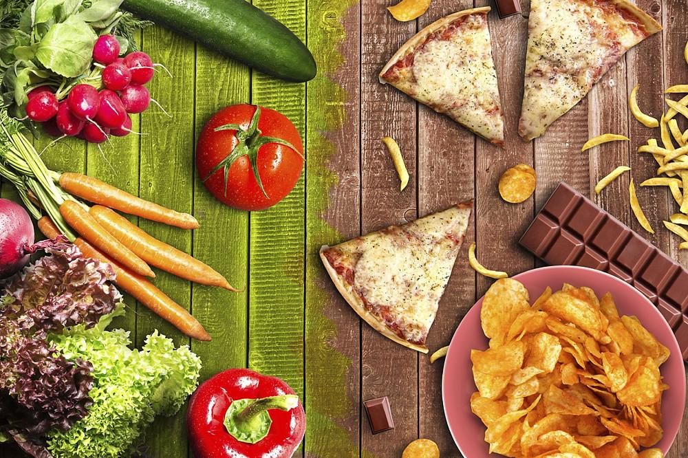 hábitos alimentares, dieta, alimentação saudável, vegetais, legumes, fast food