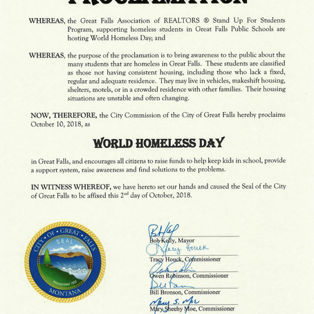 October 10th Declared World Homeless Day in Great Falls