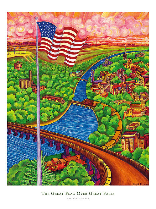 The Great Flag Over Great Falls Print